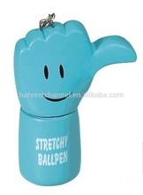 factory custom promotion cartoon plastic finger ball pen for gift