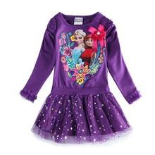Autumn Frozen Elsa Dress Sweet Long Sleeves Girl Dress New Items In China Market