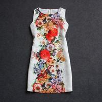 runway woman formal novelty autumn sleeveless flower print vestidos curtos novidades vestidos embroidery brand dresses roupas