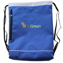 Economy 600D Polyester Cinch Gym Sack with Front Zipper Pocket