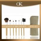 QK natural wood makeup brush set and goat hair