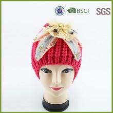 Crochet Flower Ladies Red Custom Knit Beanie Pom