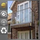 PVC/oak wood balcony stainless steel railing for home design