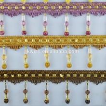 cheap price beautiful design curtain lace,beaded fringe trims
