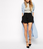 Latest Designs Wholesale Cheaper Fashion Woman Shorts with Belted Waist Detail