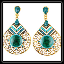 2015 New Arrival Luxury 18k Gold Hollow Big Vintage Drop Earrings Wire Resin Crystal Female Fashion Jewelry