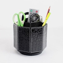 Faux Leather desk organiser for stationery holder factory,Pu Faux Leather Rotating organiser,home & office &hotel remote control