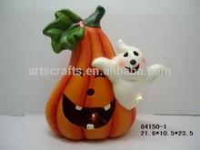 2015 Halloween decorative LED lighted ceramic pumpkin
