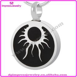 IJD8443 black enamel round cremation memorial jewelry urn pet casket
