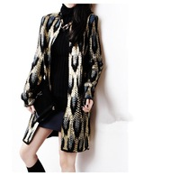 2015 Ladies long sweater coats leopard print cardigan sweater for women