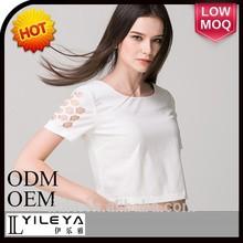 Fashional designed short sleeve slim printed chiffon blouse