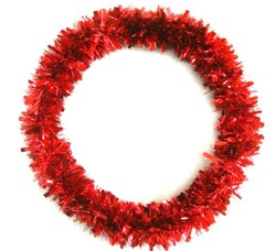 Holiday decoration tinsel wreath