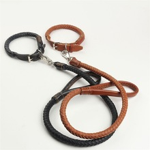 High quality pet dog real cow leather training collar and leash kit provided by professional pet accessories factory