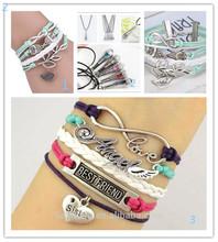2014 Handmade fashion bracelet charms,snap button bracelet,bracelet hand chain for men
