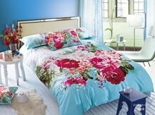 king size big flower pattern 205tc 100% sateen cotton 3d quilt