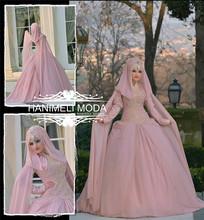 Elegante cj-0259 de manga larga de cristal del grano aliexpress vestidos de novia china vestido de boda musulmana