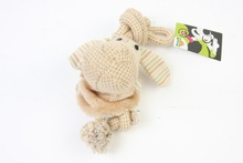 Plush dog with two ropes and pet chew toy