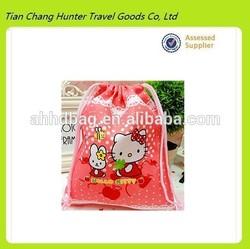 hot sale high quality leisure cartoon drawstring bag canvas drawstring bag