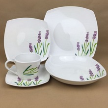 Wholesale Ikea Style Modern Square Fine Porcelain Dinner Set with Lavender Pattern,20/30 pcs Ceramic Tableware/china Tableware