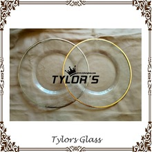 Clear Gold Rim Glass Charger Plates For Hotel By Tylors Glass Wholesale
