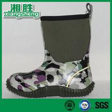 Lightweight Camo Printed Cheap Rain Boots for Kids with Heel Loop