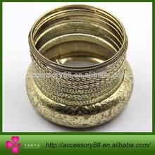 Look!Antique gold Tone Flower Texture Bangle Bracelet set wholesale Cheap