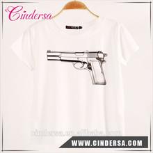Custom man tshirt gun printing cheap price t-shirt