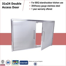 Outdoor kitchen island accessory insert double access door 31in