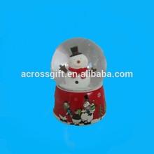 resin christmas snow globe with snowman