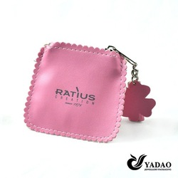 Pink custom logo jewelry bags leather pouch small jewelry bags