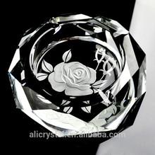 Promotion gift rose engraving crystal ashtray