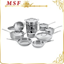 17pcs stainless steel cookware set most popular combination in America made by Stainless steel 304 & SS cast handles MSF-L3112