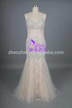 Luxury Beading stones world CL-E087Flower Tulle Mermaid Halter Cross back Evening Dress light champagne