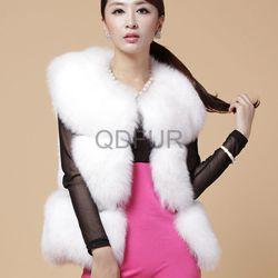 A27920 white Stylish Fashion women's brown knitted rabbit fur vest