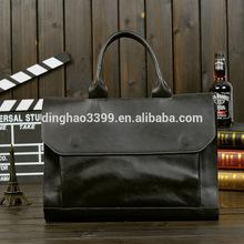 Fashion Gentleman Genuine Cow Leather Mens Briefcase Seminar Bag for 2015