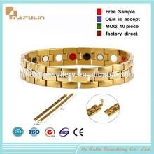 NAFULIN Custom Logo anti-static bio magnetic stainless bracelet,gold stainless mens bracelet