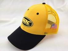 Yellow Black Cotton Trucker Mesh Cap Custom Logo Advertisement 6 Panel Baseball Cap