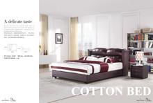 2015 Lastest Design Modern Black Leather Bed (H-029)
