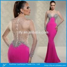 Floor-length Long Sleeve Deep V-neck Sexy See-through Back Mermaid Chiffon Pink Mermaid Long Prom Dress 2015