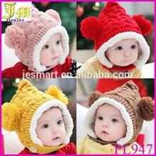 Super Lovely Winter Warm Kid Baby Girl Boy Dual Balls Ear Wool Knitted Beanie Cap Hat
