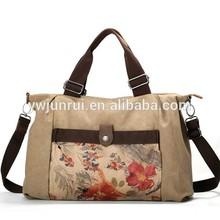 2014 china supplier new designer floral ladies canvas satchel bags