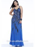 Sexy Plus Size Women Dresses Spaghetti Straps V-neck Beaded Black Sequins Sheath Chiffon Long Prom Dresses