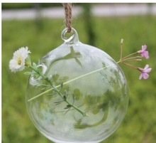 2015 new and hot home decorated glass flower vase glass hanging hollow ball