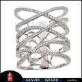 Aerodinámico forma pavimentada anillo de plata, 925 de plata de ley