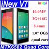 New !!China Brand Original iNew v7 Quad Core 1.3GHz android 4.4 2gb ram +16gb rom dual camera android phone