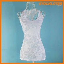 Discount vest stock outlet fashion girls white vest top stocklots ready to ship ,141205f