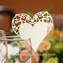 2015 new design table decor/wine glass decoration heart shape laser place card