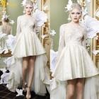 WD-642 2015 High Low Scoop Neck Long Sleeve Wedding Dress Front Short Back Long