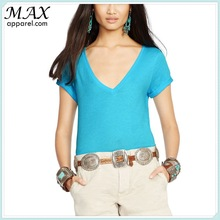 New arrival apparel Ribbed V-neckline casual style COTTON JERSEY V-NECK TEE fashion wholesale t-shirts from china