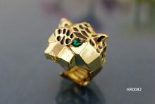 HR0082 Beautiful stretch CCB bar plating gold epoxy animal shape leopard men rings